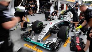 Nico Rosberg in the pit lane at the Hungaroring