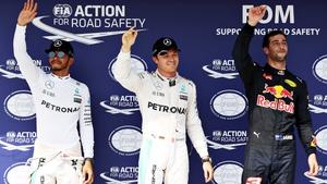Top three qualifiers (L-R): Lewis Hamilton, Nico Rosberg and Daniel Ricciardo