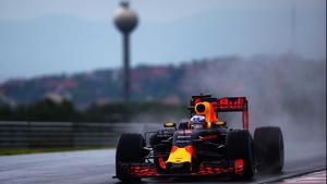 Daniel Ricciardo at a wet Hungaroring yesterday