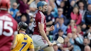 Conor Cooney celebrates finding the net for Galway
