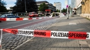 A police line is seen near the site of the attack in the southern German city of Reutlingen