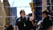 Steve Hansen parades the Webb Ellis Cup in Wellington last year