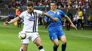 Dundalk's Patrick McEleney competes with Mirko Ivanic of FC BATE Borisov