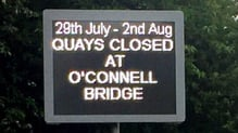 The quays at O'Connell Bridge will be closed for the weekend blocking east and west bound traffic