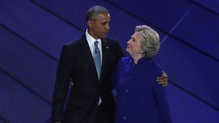 Hillary Clinton joined Barack Obama on stage after his speech