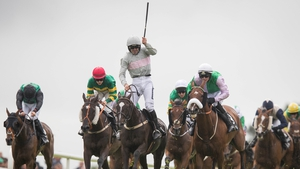 Ruby Walsh punches the air after ending his Galway Hurdle hoodoo