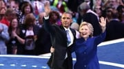 Hillary Clinton joined Barack Obama on stage last night after his speech