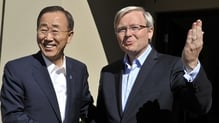 Kevin Rudd (R) had hoped to succeed Ban Ki-Moon as UN Secretary General