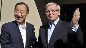 Kevin Rudd (R) had hoped to succeed Ban Ki-Moon as UN Secretary General