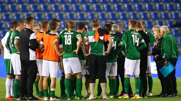 John Caulfield addresses his Cork City players after their 1-0 loss to Genk