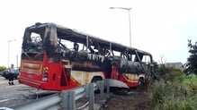 One eyewitness said trapped passengers inside the bus had been pounding on the windows as it careered off the road