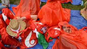 Bad weather failed to put a dampener on the festival atmosphere in Blonia Park