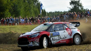 Kris Meeke in action during Rally Finland