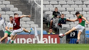 Jason Doherty finds the net for Mayo