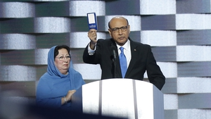 Khizr Khan, pictured with his wife Ghazala, spoke out about Donald Trump at the Democratic National Convention