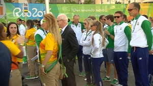 The Irish team are welcomed to the Olympic Village