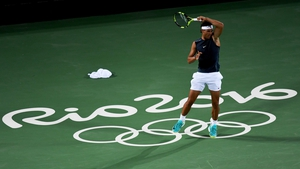 Rafael Nadal practices at the Tennis Olympic Center in Rio de Janeiro