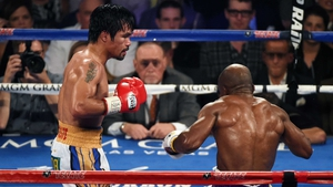 Manny Pacquiao knocks down Timothy Bradley Jr in his 'retirement' bout