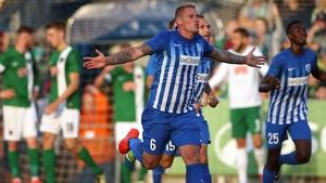 Sebastien Dewaest of Genk celebrates his first-half goal