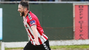 Derry's Rory Patterson celebrates scoring