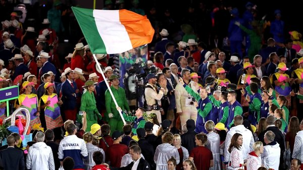 Team Ireland makes their way through the opening ceremony