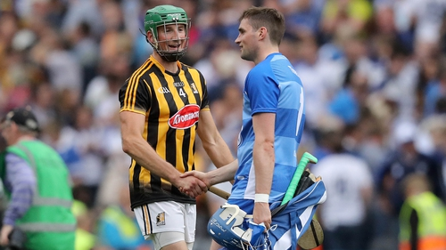 Kilkenny's Shane Prendergast and goalkeeper Stephen O'Keeffe of Waterford after the game