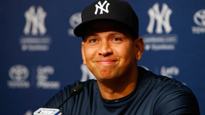 Alex Rodriguez announcing his retirement at Yankee Stadium this morning
