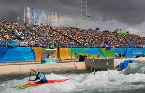 Jose Carvalho of Portugal navigates some choppy water during the Canoe Single (C1) Men's Heats 1st Run