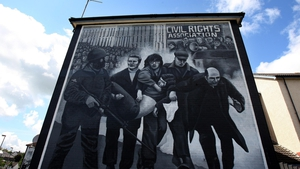 A mural in Derry marks the final moments of John 'Jackie' Duddy, one of the Bloody Sunday victims