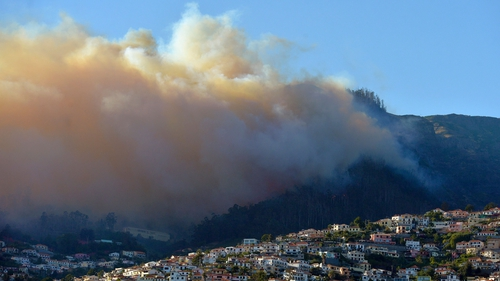 Smoke rises over Galeao and Alegria in Sao Roque, Mareira following forest fires