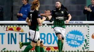 Bray's Mark Salmon celebrates his goal