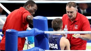 USA's Nico Hernandez receives advice from Billy Walsh