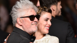 Director Pedro Almodóvar and and actress Emma Suarez at the premiere of Julieta in Cannes, May 17, 2016.