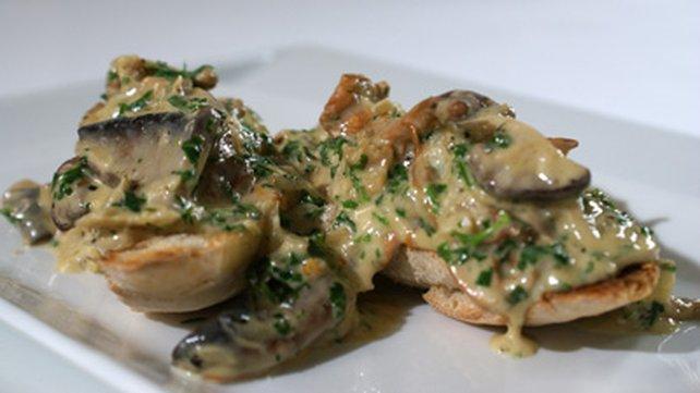Mushroom bruschetta is a great warm and tasty snack
