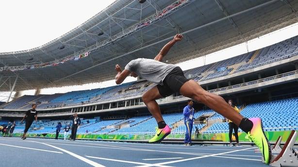 Rio Olympic stadium with its blue Mondo track