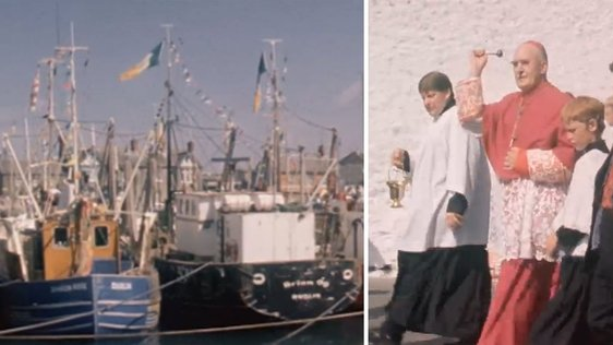 Bishop Nicholas Grimley blessing the fleet in Skerries (1976)