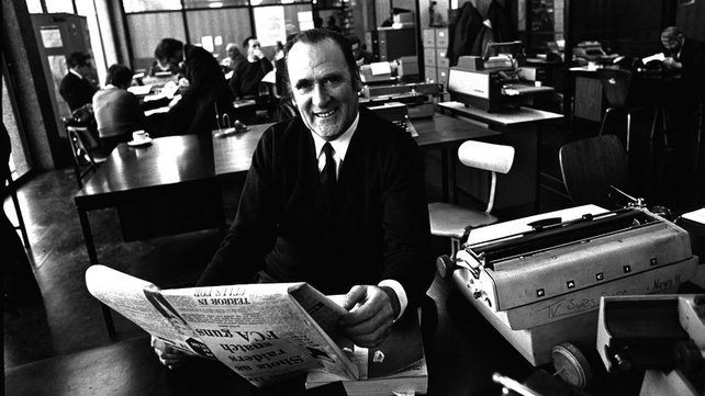 RTÉ newsreader Charles Mitchel in the RTÉ Newsroom (1972)