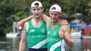 Gary and Paul O'Donovan celebrate their historic silver medal