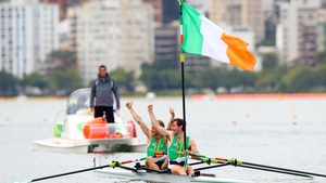 The O'Donovans raise the tricolour after claiming silver