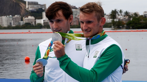 Paul (L) and Gary O'Donovan won silver in the in the men's lightweight double sculls