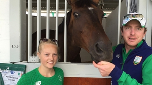Groom Ashleigh Skillen, Junior and Olympic show jumper Greg Broderick at their stables in Rio