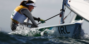 Annalise Murphy sailing in tough conditions in Rio today