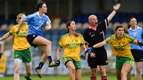 Dublin's Sinead Aherne watches her shot go over the bar