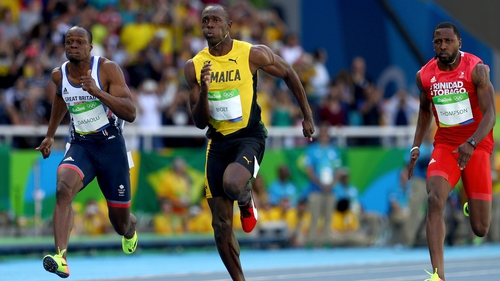 Usain Bolt competing against James Dasaolu of Great Britain and Richard Thompson of Trinidad and Tobago in Rio