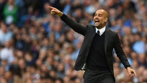Pep Guardiola gives out orders during Manchester City's 2-1 win over Sunderland