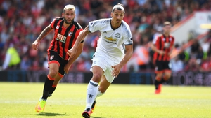 Zlatan Ibrahimovic in action for Manchester United against Bournemouth