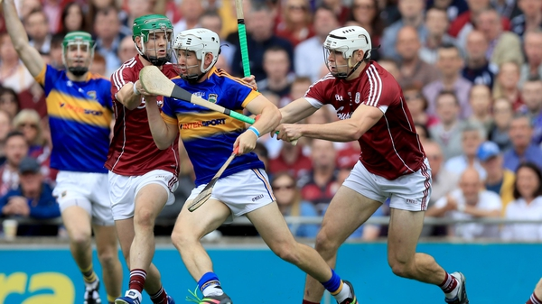 Tipperary's Niall O'Meara with Adrian Touchy and John Hanbury of Galway