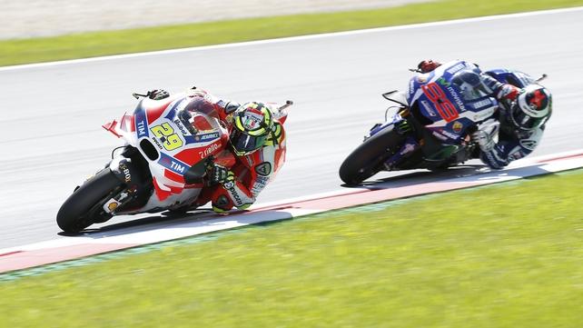 Iannone has pole in Austrian MotoGP; Marquez 5th after crash