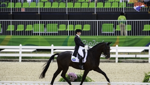 Judy Reynolds and her horse Vancouver K went all the way to the Equestrian individual dressage, where they finished 18th.