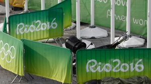 A TV camera that fell to the ground is seen in the Olympic park during the Rio Games